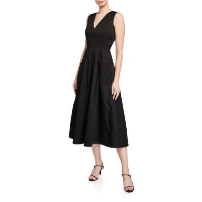コー レディース ワンピース トップス Sleeveless V-Neck Cotton Dress w/ Pockets