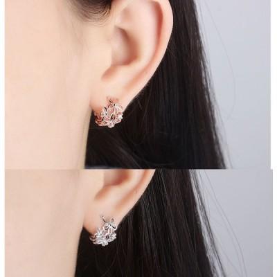 イヤークリップ   イヤーカフ  耳輪 耳飾り 穴不要 キラキラ  レディース  両耳セット  ファッション 穴不要 花