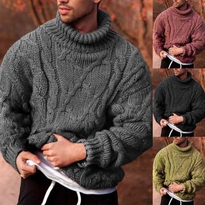 メンズ タートルネックセーター 厚手の暖かいニット プルオーバーセーター 男性のカジュアルなニットウェア ニットセーター プルオーバー 