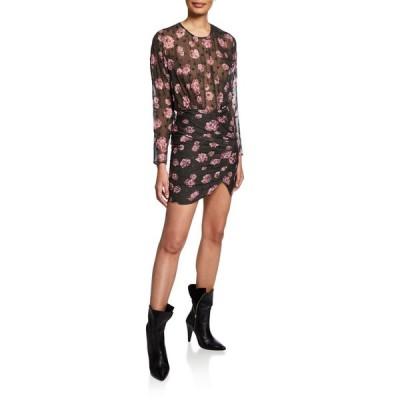 イロ レディース ワンピース トップス Adelino Dotted Floral Long-Sleeve Mini Dress
