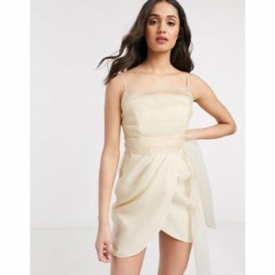 エイソス ASOS DESIGN レディース ワンピース キャミワンピ ワンピース・ドレス organza cami mini dress wih drape skirt in Cream クリ