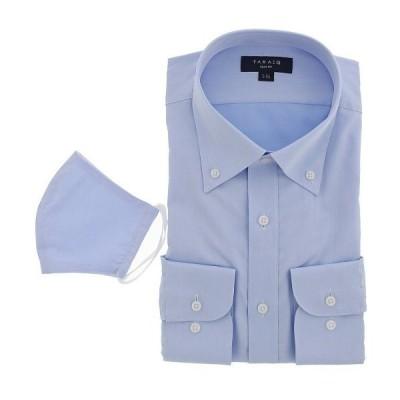シャツ ブラウス タカキューメンズ/TAKA-Q:MEN  形態安定 裏起毛 ツイルボタンダウン ビジネスドレス長袖シャツ(マスク付)