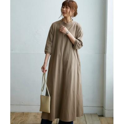 綿100%7分袖ロングワンピース (ワンピース)Dress