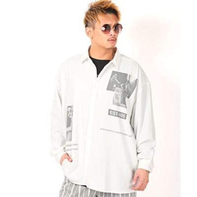 【ラグスタイル】 バックプリントBIGシャツ/長袖シャツ メンズ シャツ ビッグシルエット ガールズフォト プリント メンズ ホワイト M LUXSTYLE