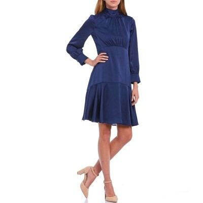 エリザジェイ レディース ワンピース トップス Mock Neck Long Sleeve Hammered Satin Flounce Hem Dress Navy