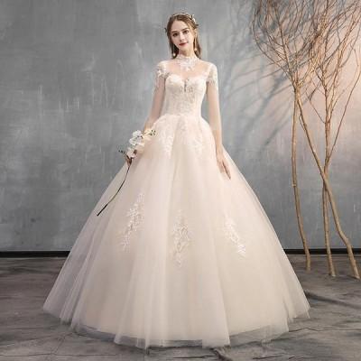 ウエディングドレス レディース プリンセスドレス 白い ブライダルドレス  花嫁 Aライン ロング丈 演奏会 前撮り ドレス 編み上げ