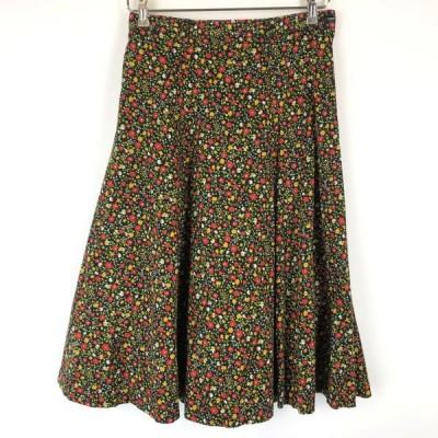 古着 花柄スカート 小花 Aライン ポケットなし ヴィンテージ ブラック系 レディースL 中古 n015702