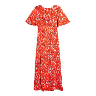 トップショップ TOPSHOP ロングワンピース&ドレス レッド 12 ポリエステル 100% ロングワンピース&ドレス