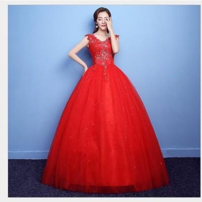 激安 パーティードレス ウエディングドレス ロングドレス プリンセスライン ステージ衣装 二次会 演奏会 発表会 成人式 結婚式ドレス 披露宴 謝恩会