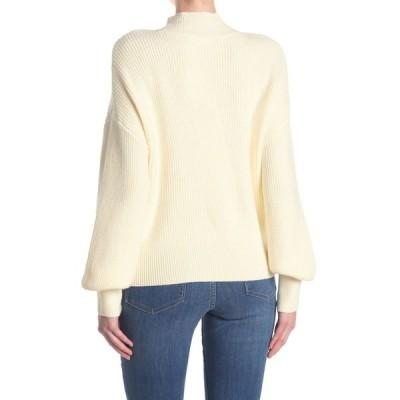 エロディー レディース ニット&セーター アウター Mock Neck Balloon Sleeve Sweater WHITE