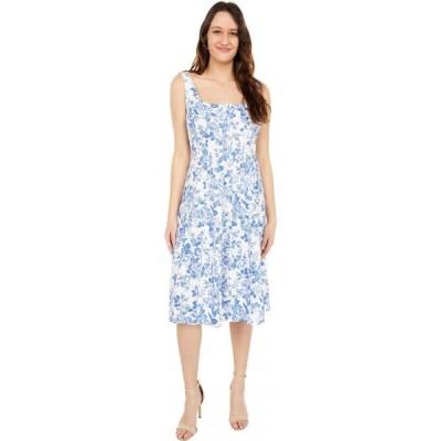 ロンドンタイムス London Times レディース ワンピース ミドル丈 ワンピース・ドレス Toile Botanical Printed Linen Scoop Neck Seamed Midi White/Blue