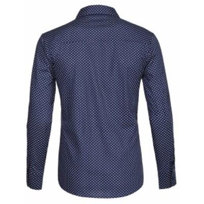 Allegra K メンズ シャツ 長袖 ボタンダウン 水玉プリント ポイントカラー カジュアル ブルー S/34