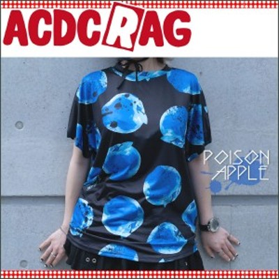 ACDC RAG エーシーディーシーラグ リンゴTシャツ パンク ロック V系 原宿系 リンゴ 林檎 黒 青