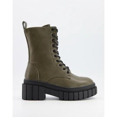 トリュフコレクション Truffle Collection レディース ブーツ ショートブーツ レースアップブーツ シューズ・靴 chunky lace up ankle boots in khaki グリーン