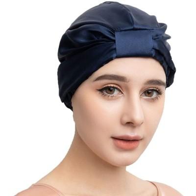 Lingnaxuan ナイトキャップシルク 天然100% 快眠グッズ 頭皮保湿 レディース 就寝用 サイズ調節ロープ付き 美髪帽子 (紺色)
