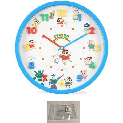 クレヨンしんちゃん 掛け時計 アイコン 壁掛け時計 連続秒針 ウォール クロック ブルー 当店オリジナルロゴ入りフック 2点セット(時計、フック)