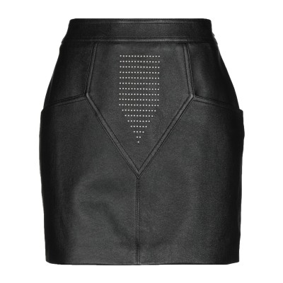SAINT LAURENT ミニスカート ブラック 36 羊革(ラムスキン) 100% / 真鍮/ブラス ミニスカート