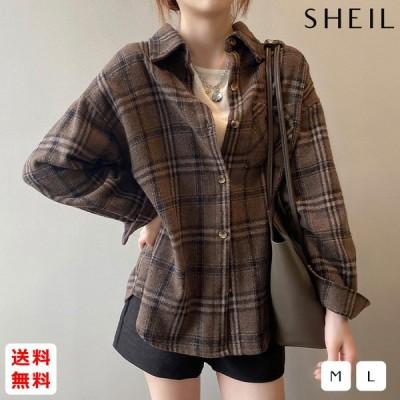 オーバーサイズ 厚手チェック長袖シャツ レディース チェック柄 シャツ 2020年 新作 韓国 韓国ファッション