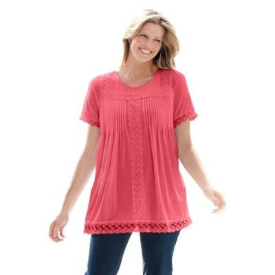レディース 衣類 トップス Woman Within Women's Plus Size Lace Trim Pintucked Tunic ブラウス&シャツ