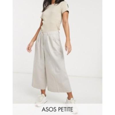 エイソス レディース カジュアルパンツ ボトムス ASOS DESIGN Petite clean linen culottes Neutral