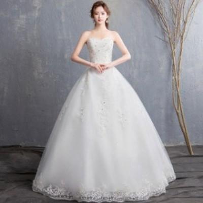 白 エンパイア ウェディングドレス ビスチェドレス 編み上げ レース ビスチェ ホワイト ドレス お洒落 結婚式 花嫁 ラインストーン