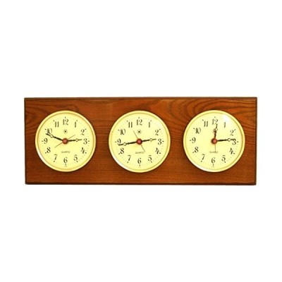 Bey-Berk WS115 Triple Quartz Clock on Oak Wood with Brass Bezel. Wall Mounts Vertically or Horizontally, Brown並行輸入品