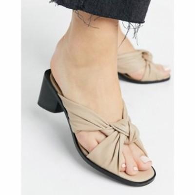 ASRA レディース サンダル・ミュール シューズ・靴 Asra Jenna Twist Front Heeled Mules In Beige Leather アーモンドレザー