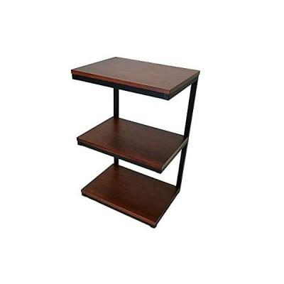 サイド テーブル 木製 アイアン 棚 付き 3段 幅 40.5 奥行 30.5 高さ 62.5 cm 6.5 kg パーチクルボード 天然木 突板 張