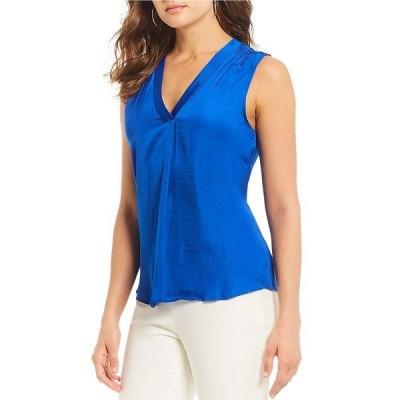 ヴィンスカムート レディース シャツ トップス Invert Pleat V-Neck Sleeveless Rumple Blouse Cobalt Blue