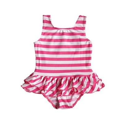 BAOHULU可愛い 女の子水着 ピンク 花柄つき 日焼け止め ストライプ ファッション キュート ワンピース水着 スイミングウェアS179