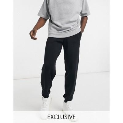 コルージョン メンズ カジュアルパンツ ボトムス COLLUSION knitted sweatpants set in black