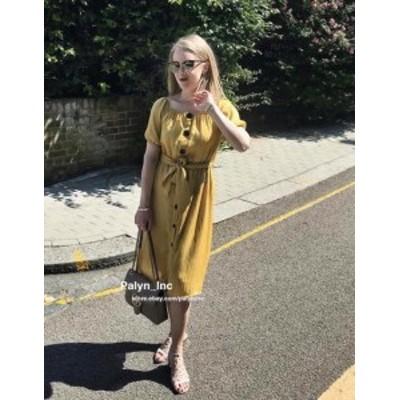 Mustard  ファッション ドレス NWT ZARA SS18 MUSTARD OFF SHOULDER CREASED EFFECT WRINKLED DRESS 1639/099_XS SML