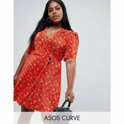 エイソス ワンピース ASOS DESIGN Curve ditsy print plisse mini dress with button detail Multi
