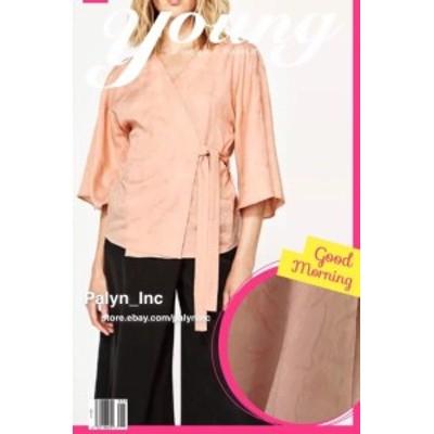 Pale  ファッション 衣類 NWT ZARA PALE PEACH PINK JACQUARD KIMONO BLOUSE LYOCELL 9878/051_XS M L