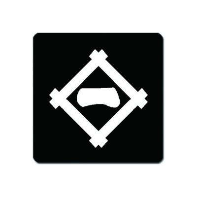 家紋シール 白紋黒地 井桁に一文字 4cm x 4cm 4枚セット KS44-0068W