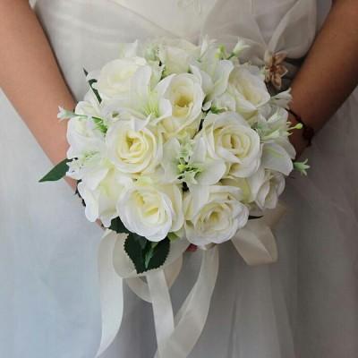 造花 ウェディングブーケ 結婚式/ブライダルブーケ/ラウンドブーケ/トスブーケ/【直径は約25cm】【flo96b】