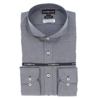 綿100% 形態安定 スリムフィット カッタウェイ長袖シャツ