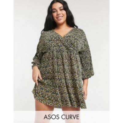 エイソス レディース ワンピース トップス ASOS DESIGN Curve mini plisse long sleeve V-neck dress in multi floral Multi floral
