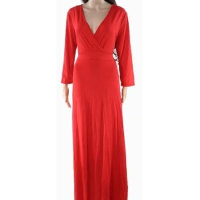 Maxi  ファッション ドレス Viishow NEW Red Womens Size XL Stretch Surplice Draped Maxi Dress