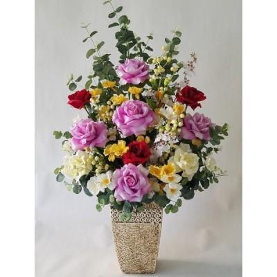 バラMIXアレンジ(AR7)(高さ100cm巾55cm)、光触媒、造花,新築祝、開店祝、応接間の装飾、ショウウインドウの装飾)。