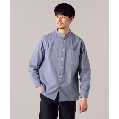 シャツ ブラウス SHIPS: japan quality ガーメントダイ トリプルステッチ バンドカラー シャツ