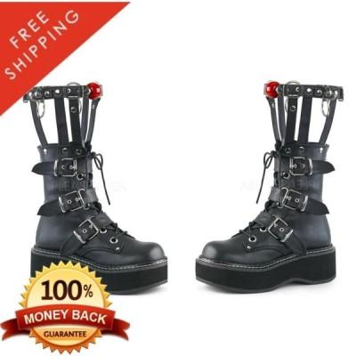 """ハイヒール パンプス モニ レディース Pleaser Demonia EMILY-355 Women's Vegan 2"""" Platform Ankle Boot Cage Style Calf"""