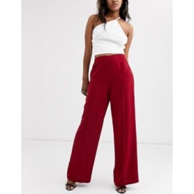 エイソス レディース カジュアルパンツ ボトムス ASOS DESIGN wide leg pants with clean high waist Dark red