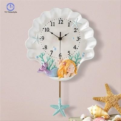 壁掛け時計 地中海 スタイルシェル クロック かけ時計 掛け時計 人魚姫