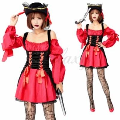 パイレーツ カリブ カリビアン 海賊 女海賊 肩見せワンピース セクシー ハロウィン 仮装 コスプレ衣装(ps3768)