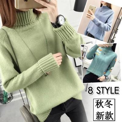 秋冬2020年新モデル女性ハーフネックのセーターがゆったりとした厚手のメリヤスのブラウス
