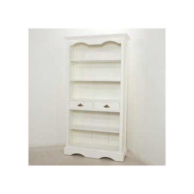 アンティーク調 大型 ブック シェルフ ラック マホガニー ホワイト 本棚 飾り棚