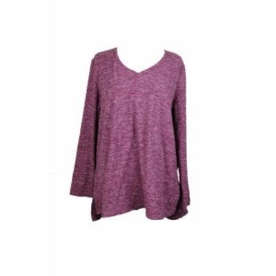 ファッション トップス Style & Co Magenta Space-Dyed V-Neck Sweater XL