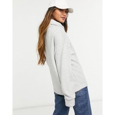セレクティッド レディース パーカー・スウェットシャツ アウター Selected Femme high neck sweatshirt in gray Gray melange