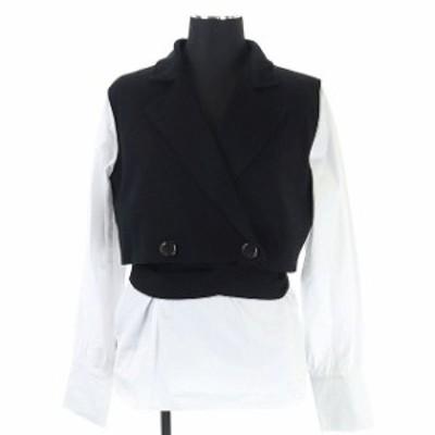 【中古】アメリヴィンテージ Ameri VINTAGE アメリ AMERI MINI JACKET DOCKING SHIRTS シャツ ニット F 黒 白 ■OS